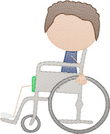 Boy 5  in Wheelchair(Add On for Family) Quick Stitch Embroidery
