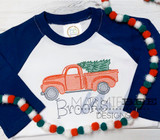 Christmas Truck with Tree Stitch Embroidery
