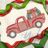 Christmas Truck with Wreath Quick Stitch Embroidery