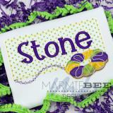 Mardi Gras King Cake Name Frame Simple Applique