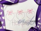 Hanging Bow Hearts Quick Stitch Embroidery