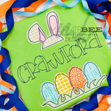 Bunny Ears and Egg Name Frame Simple Applique