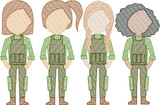 Army Women (Build Your Own Family) Quick Stitch Embroidery