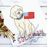 Golden Doodle Boy with Flag Simple Applique