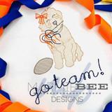 Golden Doodle Girl Football Fan Quick Stitch