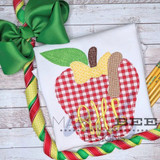 Apple with Bow and Worm Simple Applique