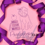 One Color Back to School Golden Doodle Girl Quick Stitch
