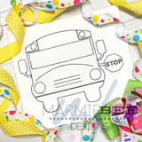 One Color School Bus with Sign Quick Stitch