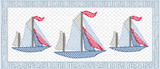Fabric Bordered Faux Smocked Sailboats Quick Stitch Embroidery