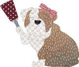 Bulldog with Bow and Cowbell Simple Applique