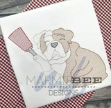Bulldog with Cowbell Quick Stitch Embroidery