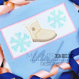 Faux Smocked Furry Boots and Snowflakes Quick Stitch Embroidery