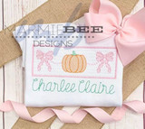 Faux Smocked Bow with Pumpkins Quick Stitch Embroidery