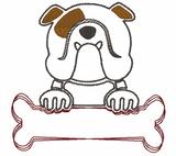 Bulldog and Bone / Name Quick Stich Embroidery