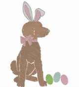 Easter Bunny Doodle Girl Quick Stich Embroidery