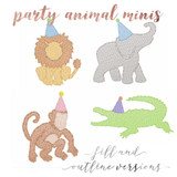 Party Animal Minis Outline and Fill Versions (no font included)