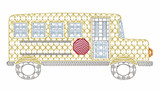 Funky School Bus Motif Quick Stitch Embroidery