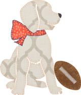 Football Pup Girl Applique