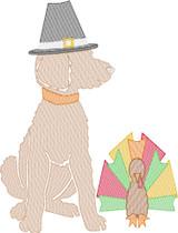 Doodle Boy Pilgrim with Turkey Quick Stitch Embroidery