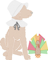 Doodle Girl Pilgrim with Turkey Quick Stitch Embroidery