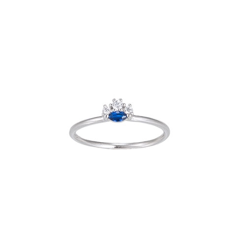 Ladies Sapphire with Zirconia Sterling Silver Ring