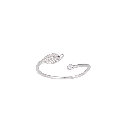 Ladies Adjustable Zirconia Flower Sterling Silver Ring