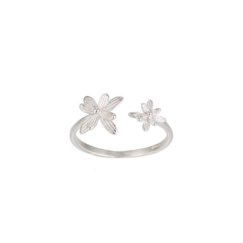 Ladies Adjustable Flower Sterling Silver Ring