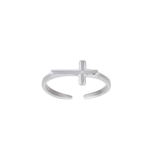 Ladies Adjustable Cross Sterling Silver Ring