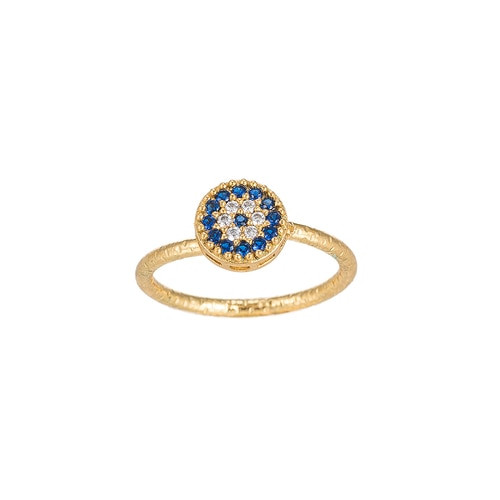 Ladies Adjustable Evil Eye Gold Plated Ring