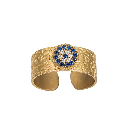 Ladies Bold Evil Eye Gold Plated Ring