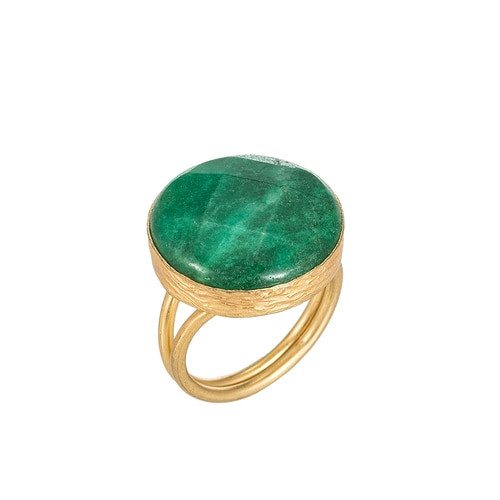 Ladies Aventurine Stone Gold Plated Ring