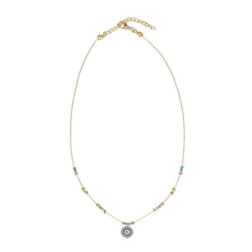 Ladies Circular Evil Eye Gold Plated Necklace