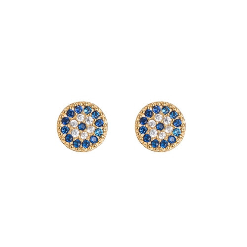 Ladies Evil Eye Stud Earrings in Gold Plated