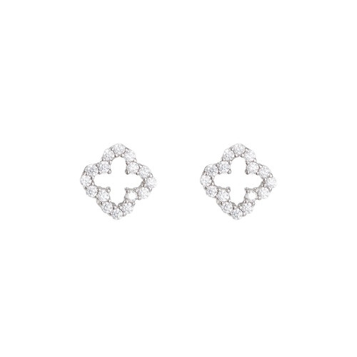Ladies Lucky Four Sterling Silver Stud Earrings