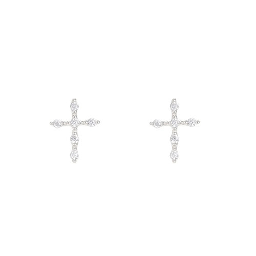 Ladies Cross Sterling Silver Stud Earrings