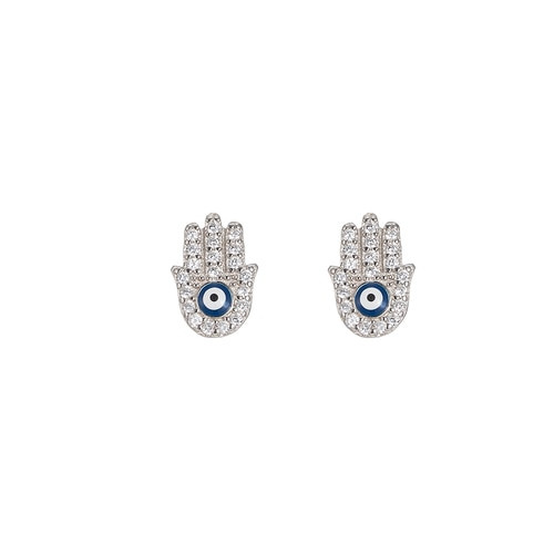 Ladies Fatima Hand Sterling Silver Stud Earrings