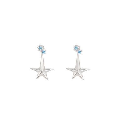 Ladies Polestar Sterling Silver Stud Earrings