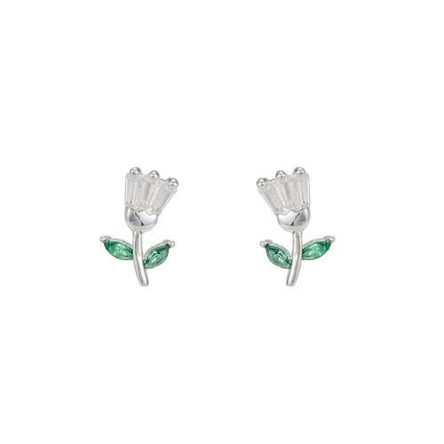 Ladies Flower Sterling Silver Stud Earrings
