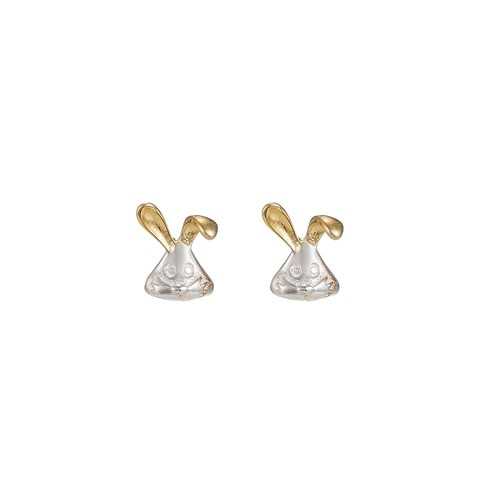 Ladies Bunny Sterling Silver Stud Earrings