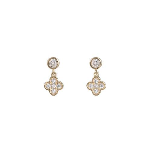 Ladies Clover Sterling Silver Stud Earrings