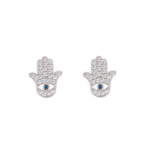 Ladies Hamsa Hand Sterling Silver Stud Earrings