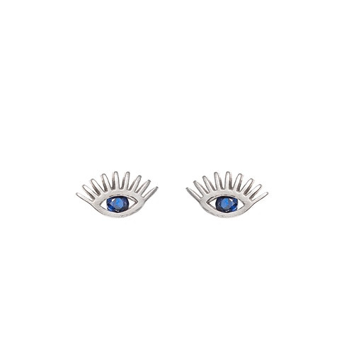 Ladies Eye Sterling Silver Stud Earrings