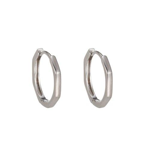 Ladies Hexagon Sterling Silver Earrings