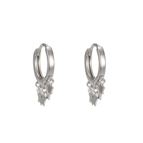 Ladies Five Star Dangly Sterling Silver Earrings