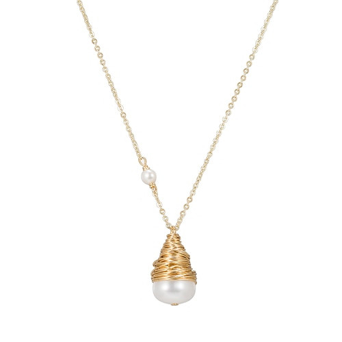 Ladies Bulb Pearl Necklace in Gold Plated