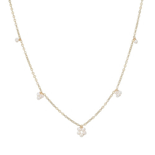 Ladies Five Pearl Necklace in Gold Plated