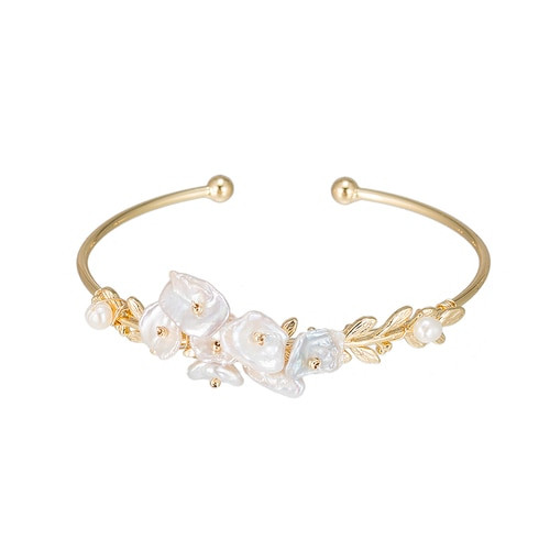 Ladies Bouquet of Freshwater Pearl Bangle Bracelet in Gold Plated