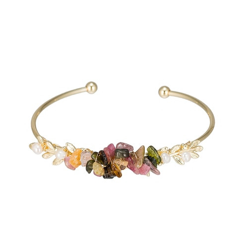 Ladies Flower Arrangement Pearl Bangle Bracelet in Gold Plated