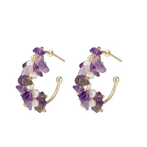 Ladies Amethyst and Pearl Hoop Earrings in Gold Plated