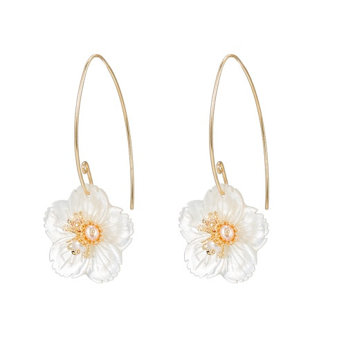 Ladies Flower Drop Earrings in Gold Plated